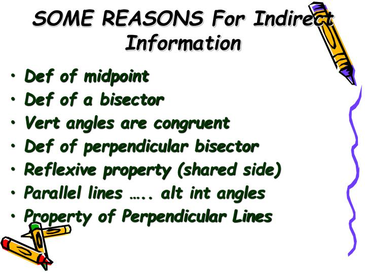 SOME REASONS For Indirect Information