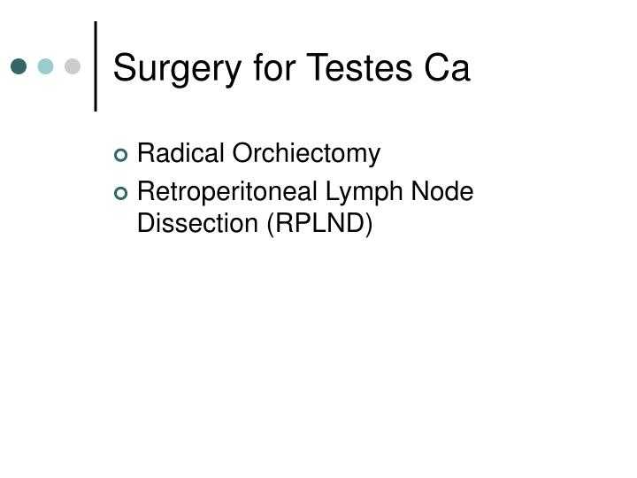 Surgery for Testes Ca