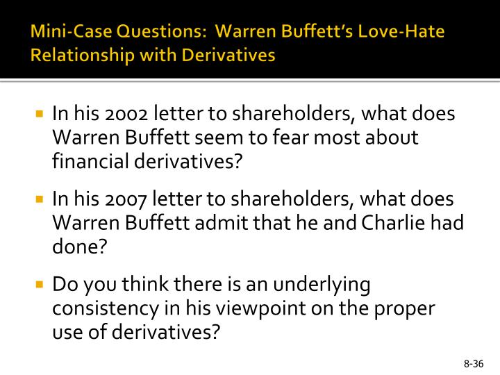 Mini-Case Questions:  Warren Buffett's Love-Hate Relationship with Derivatives