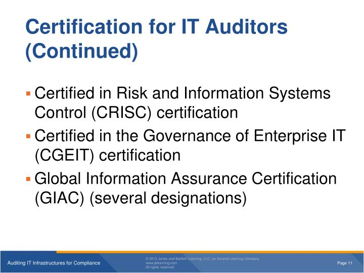 Certification for IT Auditors (Continued)