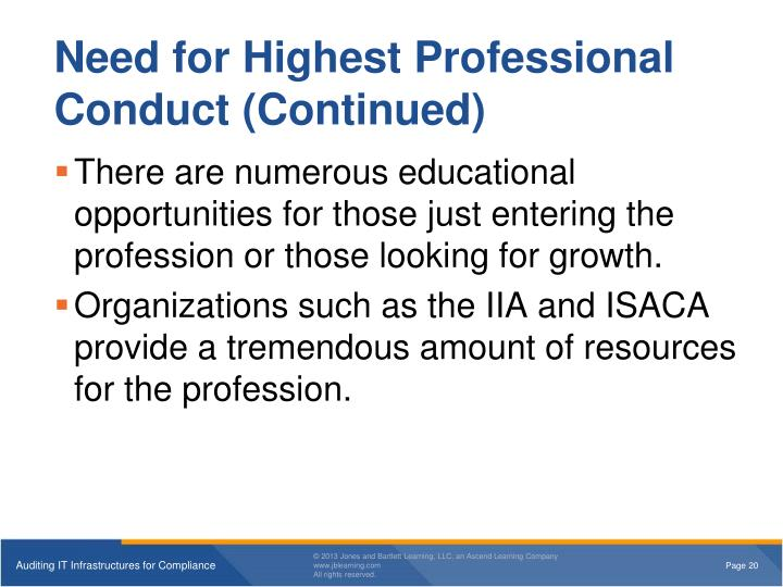 Need for Highest Professional Conduct (Continued)