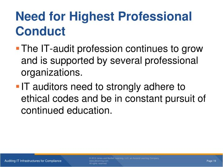 Need for Highest Professional Conduct