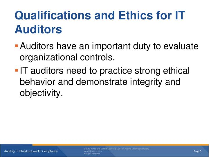 Qualifications and Ethics for IT Auditors