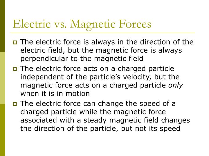 Electric vs magnetic forces