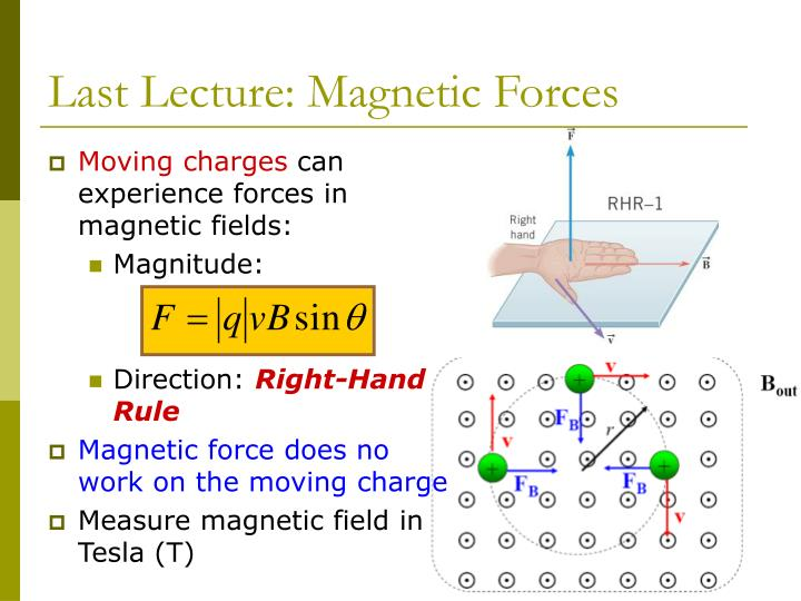 Last lecture magnetic forces