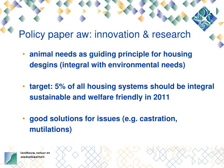 Policy paper aw: innovation & research