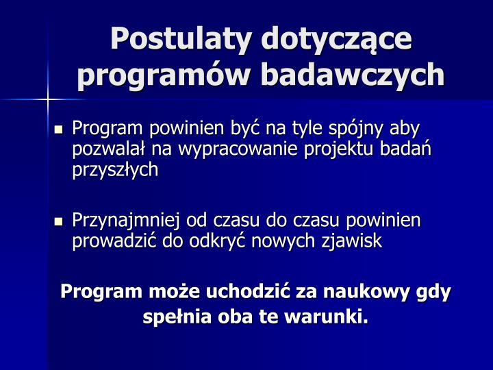 Postulaty dotyczące programów badawczych