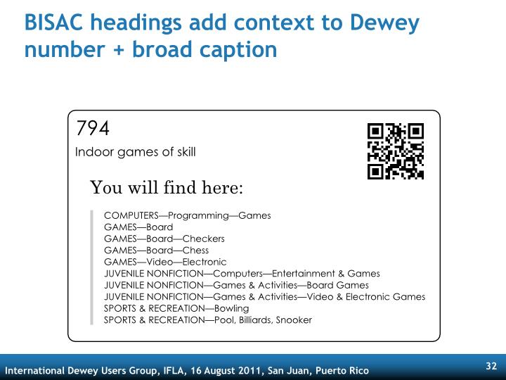 BISAC headings add context to Dewey number + broad caption