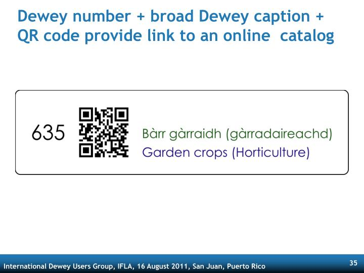 Dewey number + broad Dewey caption + QR code provide link to an online  catalog