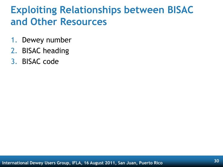 Exploiting Relationships between BISAC and Other Resources