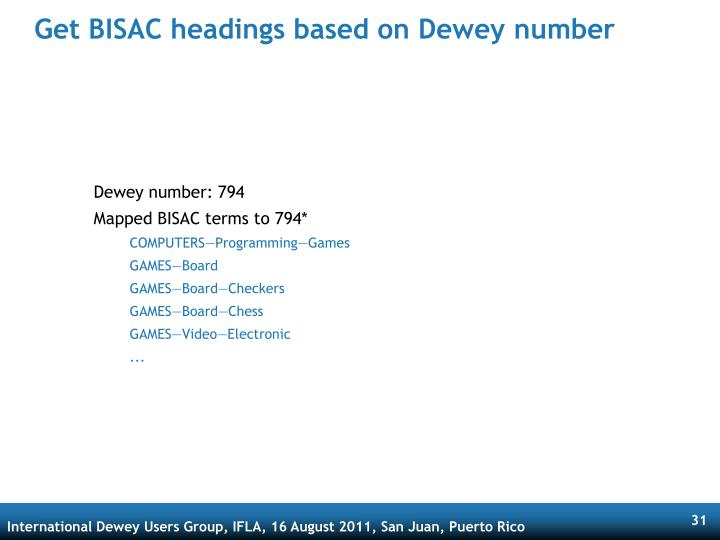 Get BISAC headings based on Dewey number