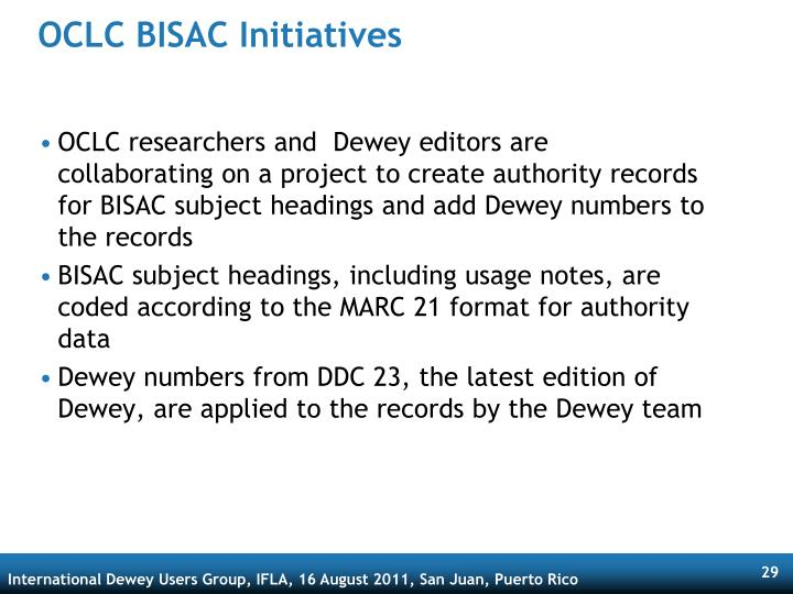 OCLC BISAC Initiatives