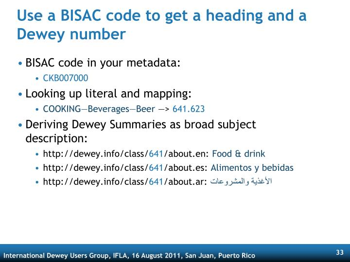 Use a BISAC code to get a heading and a Dewey number