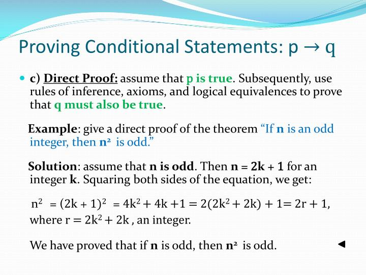 Proving Conditional Statements: p