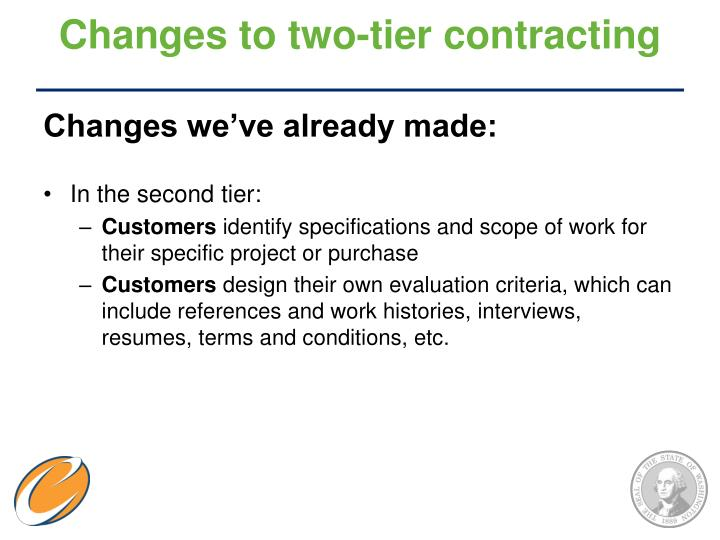 Changes to two-tier contracting