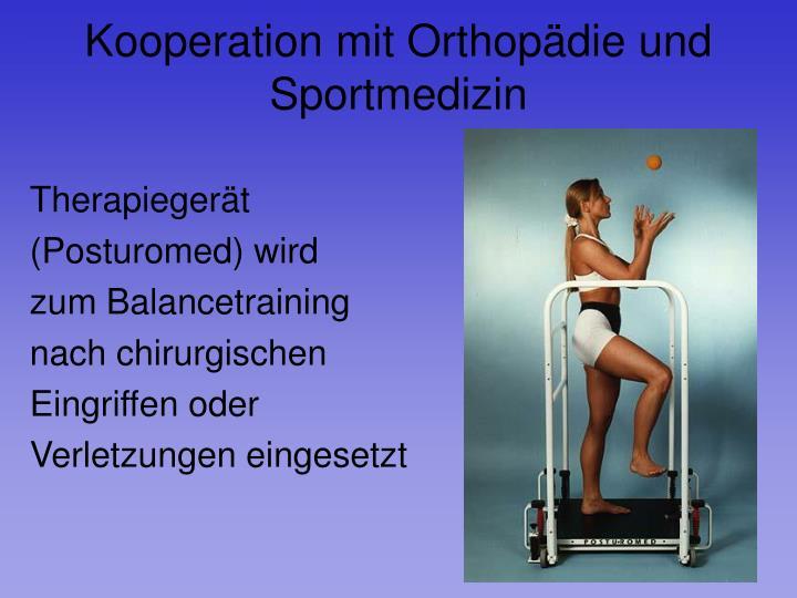 Kooperation mit Orthopädie und Sportmedizin