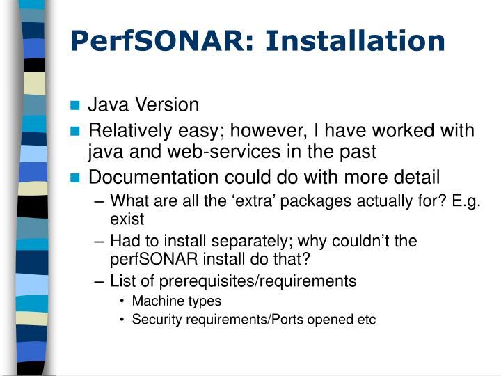 PerfSONAR: Installation
