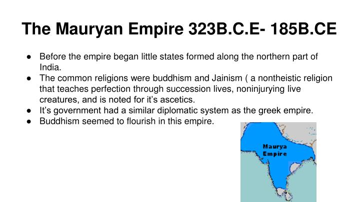 The Mauryan Empire 323B.C.E- 185B.CE