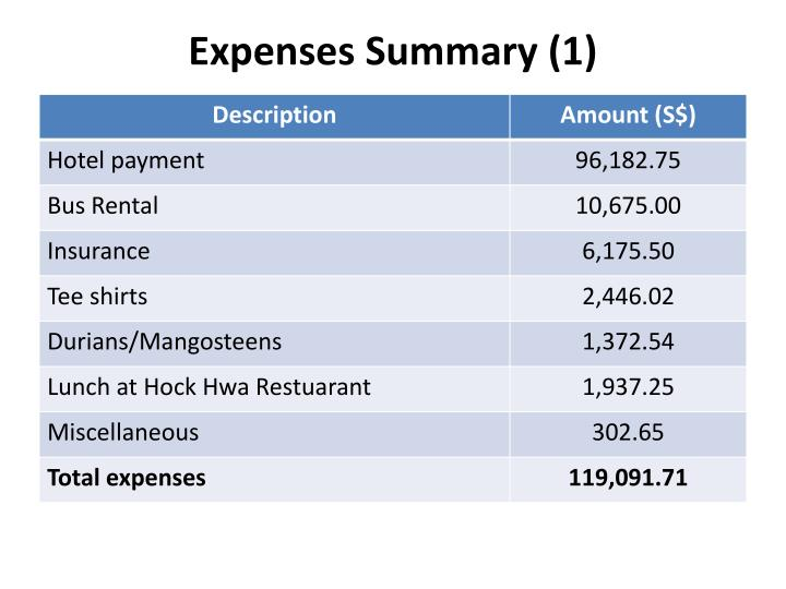Expenses summary 1