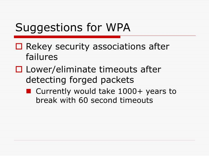 Suggestions for WPA