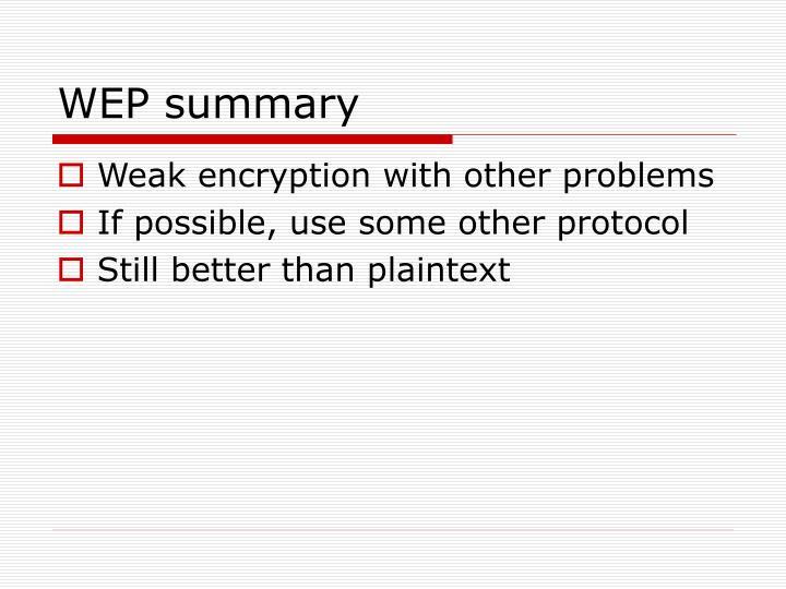 WEP summary