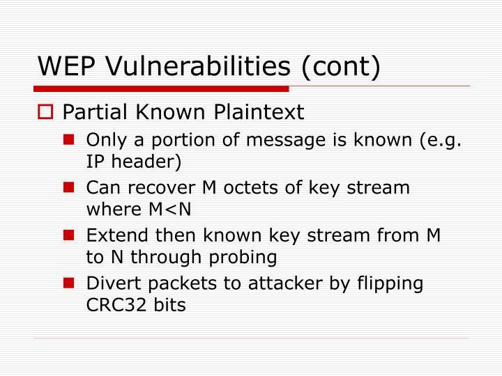 WEP Vulnerabilities (cont)