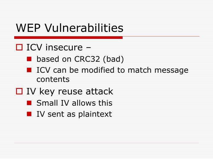 WEP Vulnerabilities