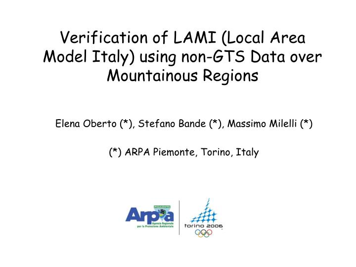 Verification of lami local area model italy using non gts data over mountainous regions