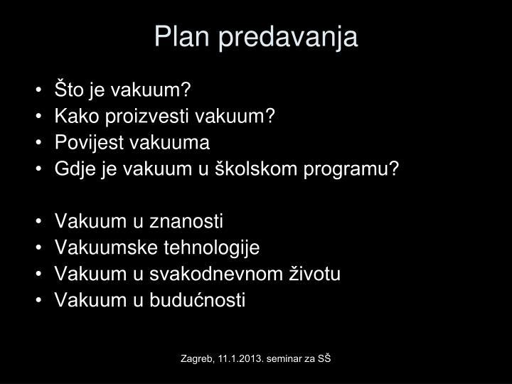 Plan predavanja