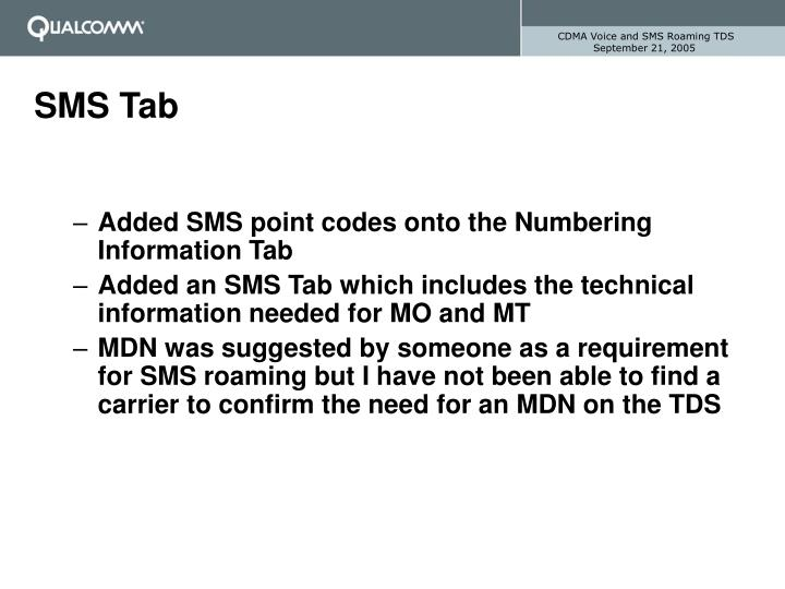 CDMA Voice and SMS Roaming TDS