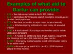 examples of what aid to darfur can provide