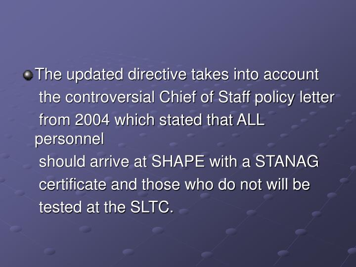 The updated directive takes into account