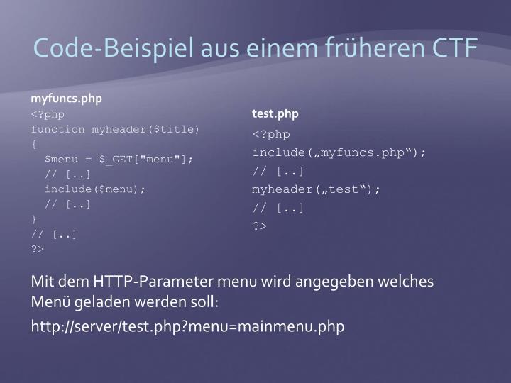 Code-Beispiel aus einem früheren CTF