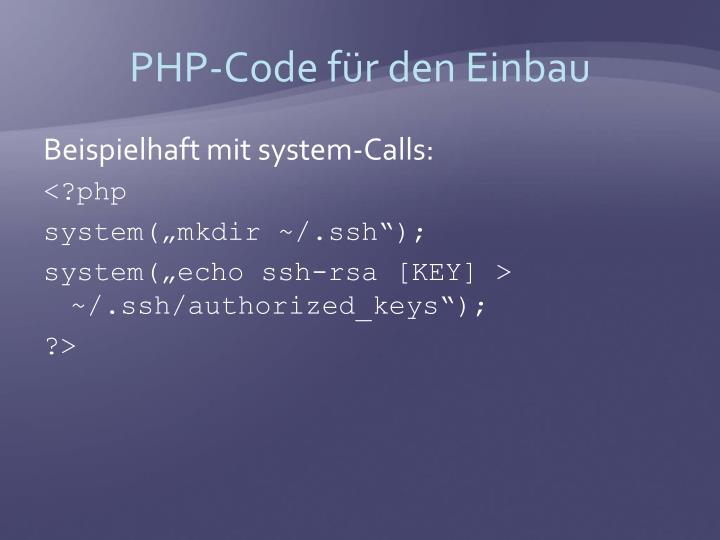 PHP-Code für den Einbau