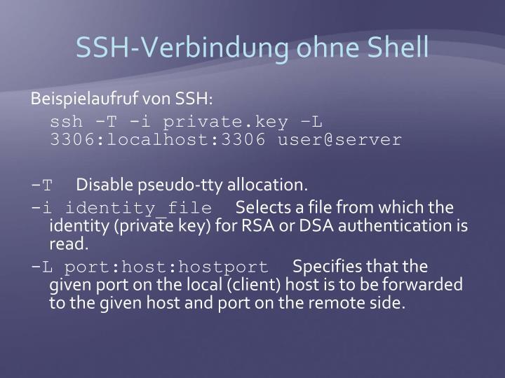 SSH-Verbindung ohne Shell