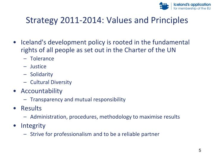 Strategy 2011-2014: Values and Principles