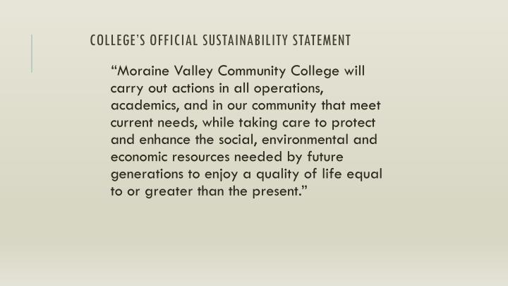College s official sustainability statement
