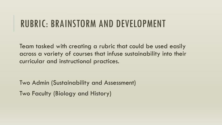 Rubric: brainstorm and development