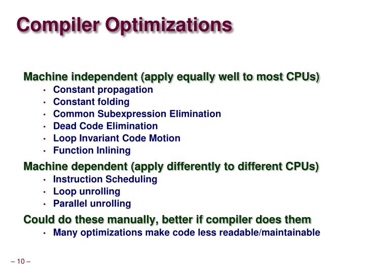 Compiler Optimizations