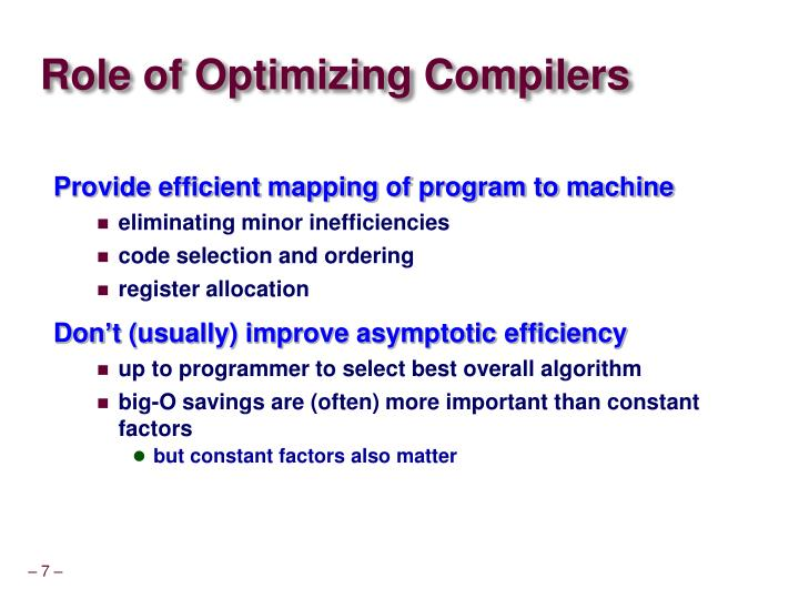 Role of Optimizing Compilers