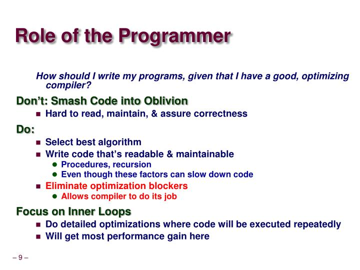 Role of the Programmer