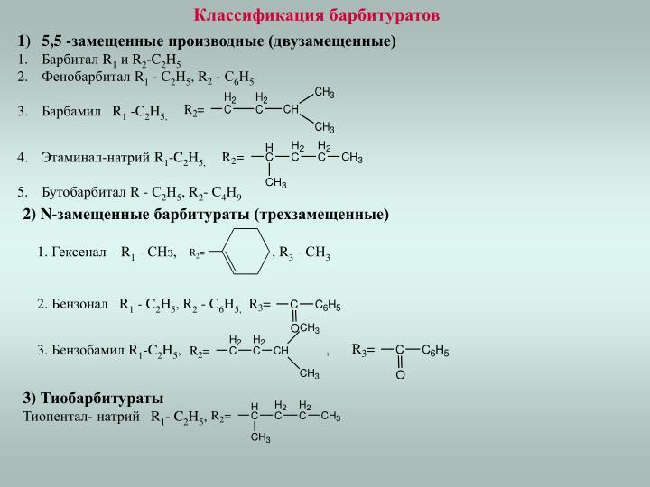 Классификация барбитуратов