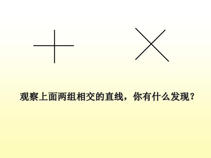观察上面两组相交的直线,你有什么发现?