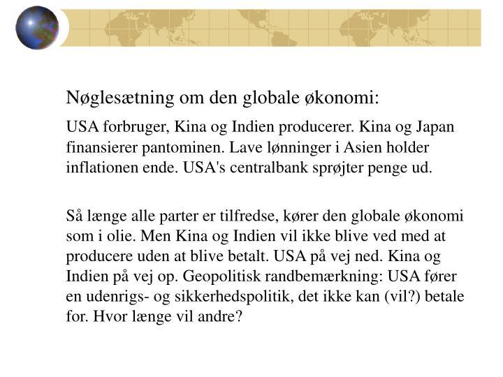 Nøglesætning om den globale økonomi:
