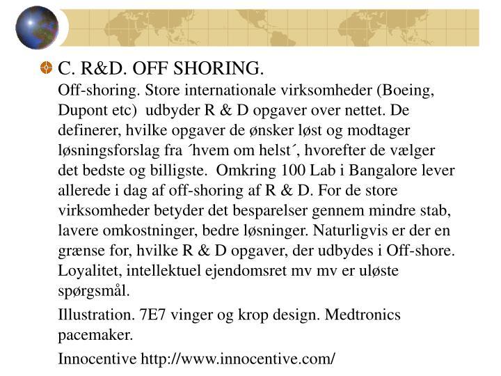 C. R&D. OFF SHORING.