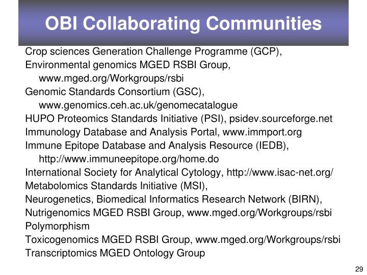 OBI Collaborating Communities