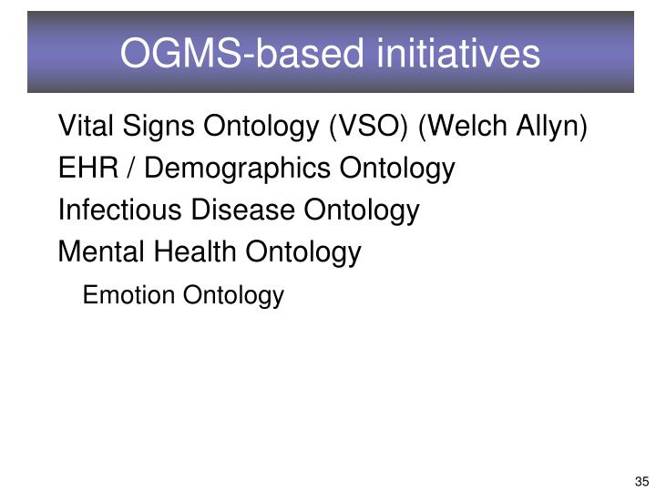 OGMS-based initiatives