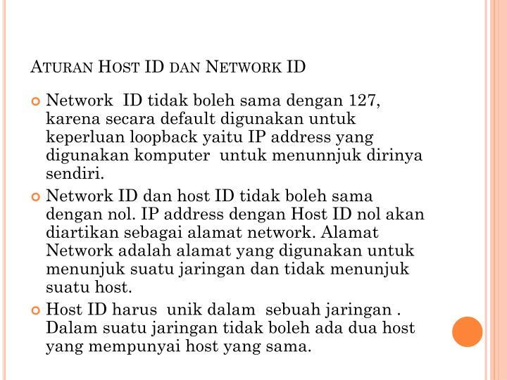 Aturan Host ID dan Network ID