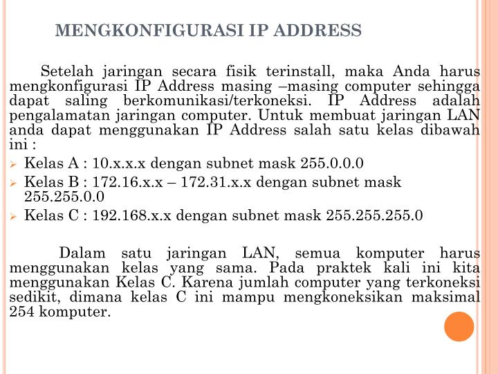 MENGKONFIGURASI IP ADDRESS