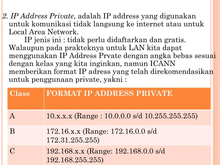 2. IP Address Private